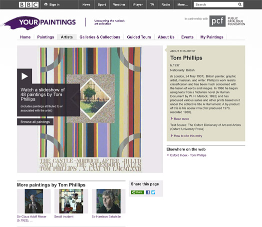Screenshot of BBC / Your Paintings website